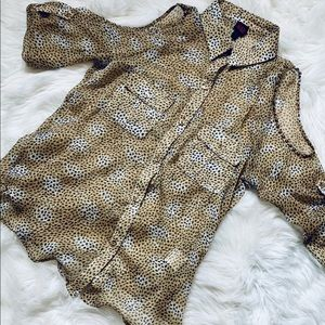 Leopard Long Sleeve Cold Shoulder Blouse-M
